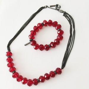 🆕 KENNETH COLE Necklace Bracelet Bead Set Red